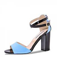 Босоножки на каблуке. Черные с голубым., фото 1