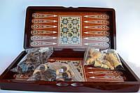 Шахматы шашки и нарды 40*40 см набор 3 в 1 деревянные покрытые эмалью, фото 1