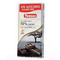 """Чорний шоколад Negro 72% какао """"Torras"""", 75 г"""