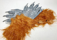 Карнавальные Волосатые Резиновые Перчатки Прикол для Вечеринки Маскарад, фото 1