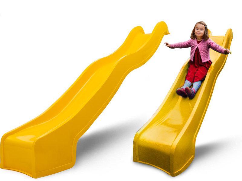 Горка детская пластиковая, спуск 2,2 метра. Цвет желтый.