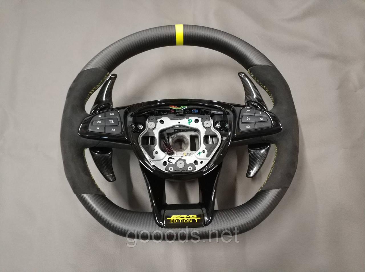 Руль карбоновый AMG Edition на Мерседес с карбоновыми лепестками