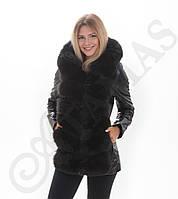 Куртка-трансформер из натуральной кожи с мехом песца Тёмный шоколад