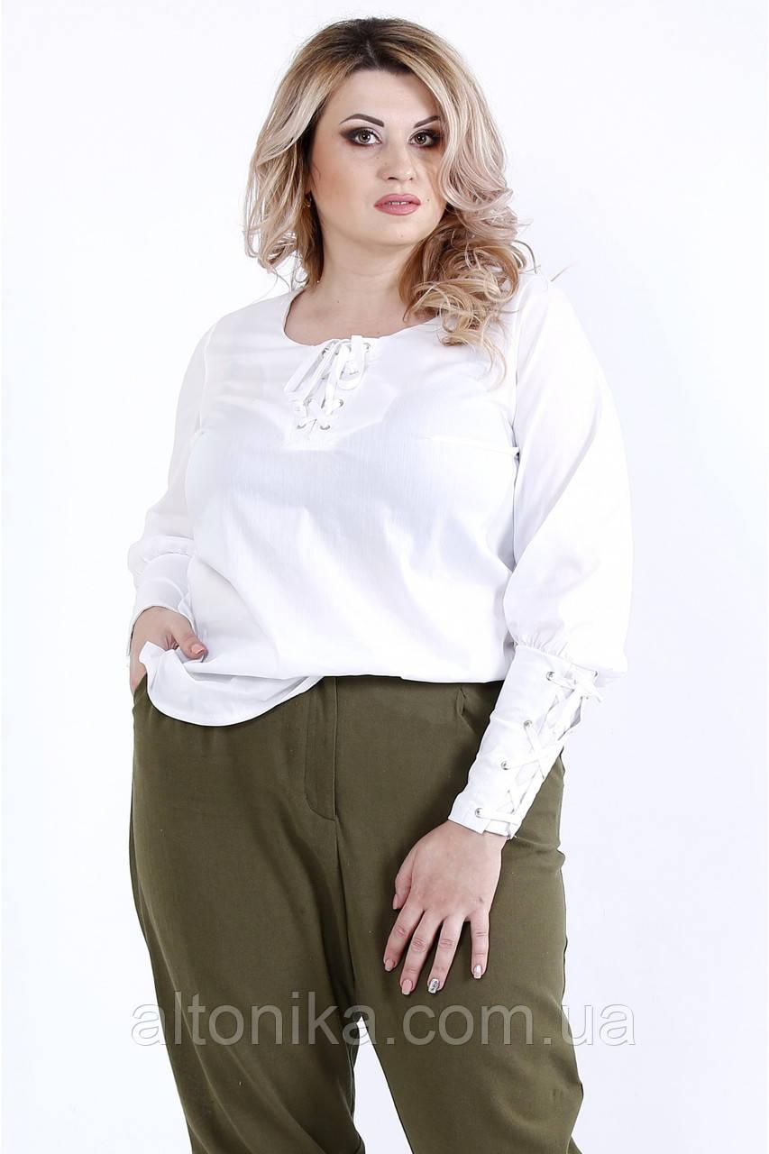 Белая удобная блузка из поплина   42-74
