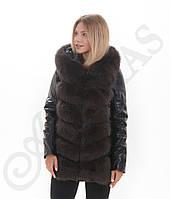 Куртка-трансформер кожаная с мехом песца Мокко