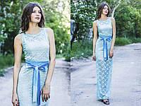 Гипюровое платье в пол с атласным поясом