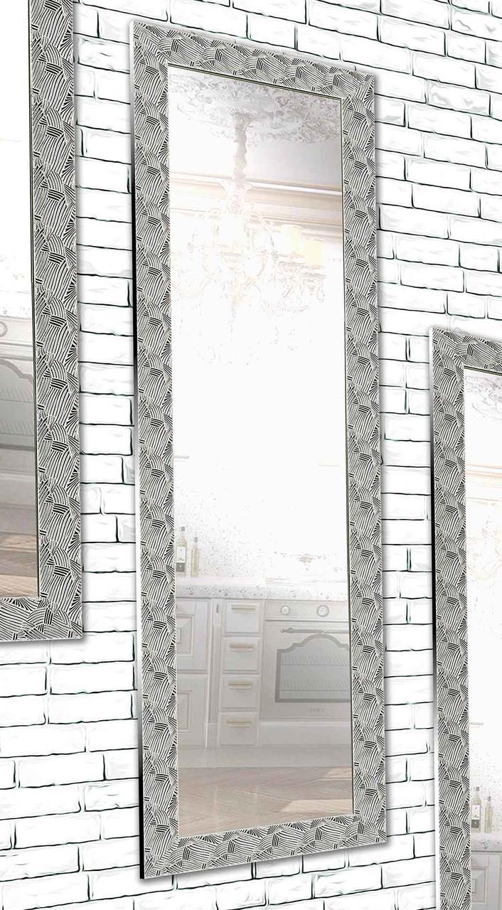 Зеркало настенное Factura в пластиковом багете Silver pattern 60х174 см серебро