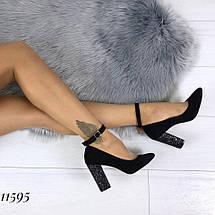 Велюровые туфли на каблуке 11595 (ЯМ), фото 2