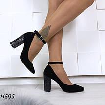 Велюровые туфли на каблуке 11595 (ЯМ), фото 3