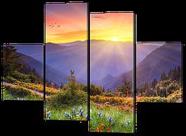 Модульная картина Дикая поляна на холме