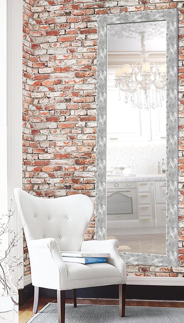 Настенное зеркало Зеркало в раме Зеркало на заказ в прихожую, в ванную комнату цена 60х174 см, белое