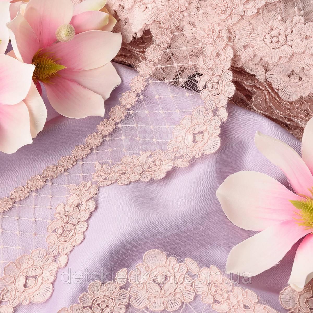 Кружево розового цвета с кордовыми розочками и ромбами, 9 см