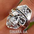 Серебряное байкерское мужское женское унисекс кольцо перстень для байкера череп Пират Разбойник 18530 ст, фото 4