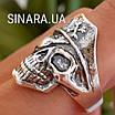 Серебряное байкерское мужское женское унисекс кольцо перстень для байкера череп Пират Разбойник 18530 ст, фото 3