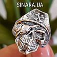 Серебряное байкерское мужское женское унисекс кольцо перстень для байкера череп Пират Разбойник 18530 ст, фото 2