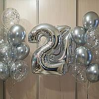 Цифра 0-9 фольгированная с гелием, цвет серебро, высота 1м