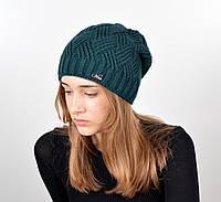 Женская шапка veilo на флисе 5522 зеленая, фото 1