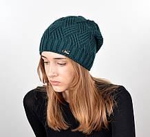 Женская шапка veilo на флисе 5522 зеленая