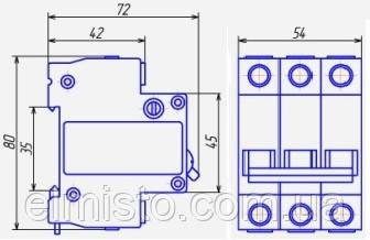 Габаритные размеры автоматических выключателей Chint  DZ47-60 3Р