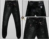 3cde5c179e1 Модные мужские зауженные джинсы на резинке-манжете чёрного цвета с  потёртостями