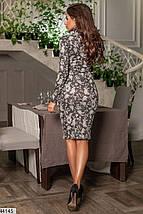 Красивое платье осеннее миди по фигуре рукав длинный цветочный принт черное, фото 3