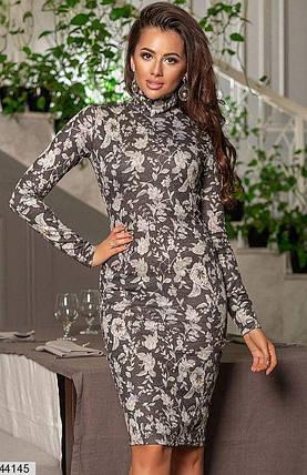 Красивое платье осеннее миди по фигуре рукав длинный цветочный принт черное, фото 2