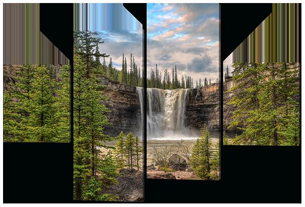 Модульная картина Водопад на скале