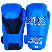 Перчатки ADX с открытой ладонью синие Flex, для кикбоксинга поинтфайтинга и таэквон-до ITF