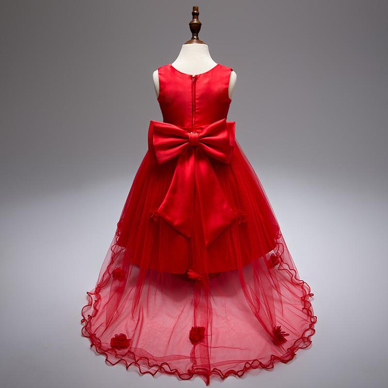 Нарядное платье для девочки со шлейфом и большим бантом красное
