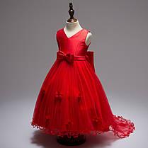 Нарядное платье для девочки со шлейфом и большим бантом красное, фото 3
