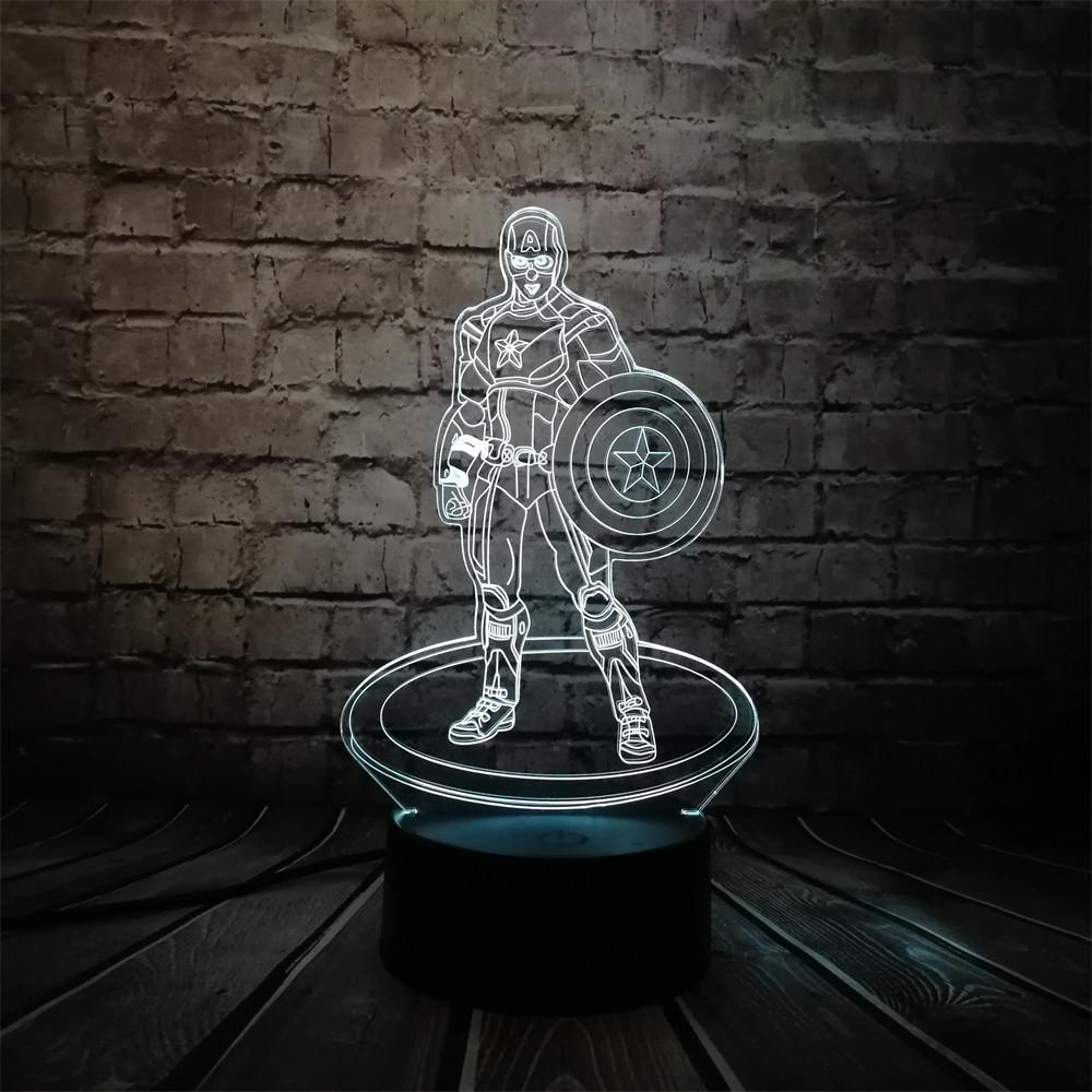 3D-лампа ночник с пультом Lumen Captain America