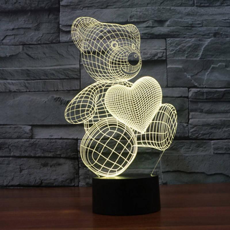 3D-лампа ночник с пультом Lumen Bear