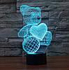 3D-лампа ночник с пультом Lumen Bear, фото 3