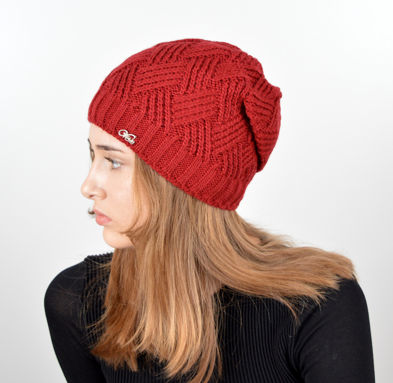 Женская шапка veilo на флисе 5522 бордо