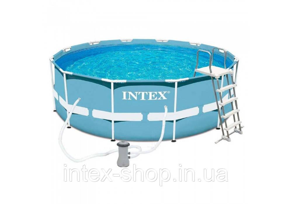 Каркасный бассейн Intex 28726, (366 х 122 см), (Картриджный фильтр-насос 3 785 л/ч, лестница)