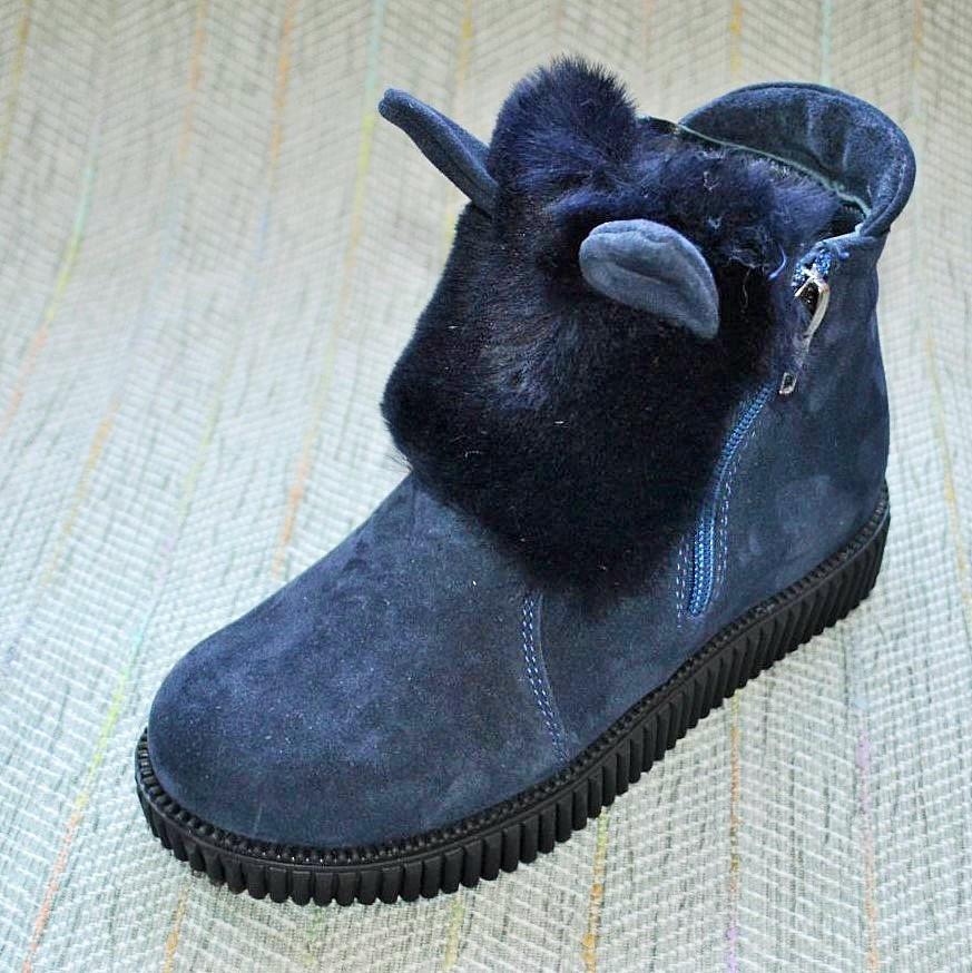 Зимові вухаті черевики, Foletti замша розміри: 33-34