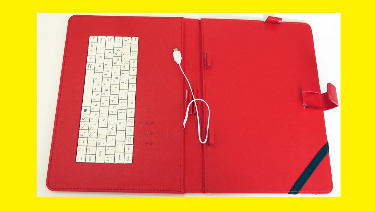 """Чехол с клавиатурой для планшетов 10"""" дюймов (микро USB) Красный"""