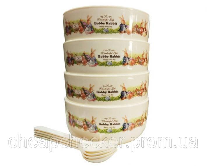 Набор Детских Тарелок с Ложечками Bobby Rabbit Wonderful Life