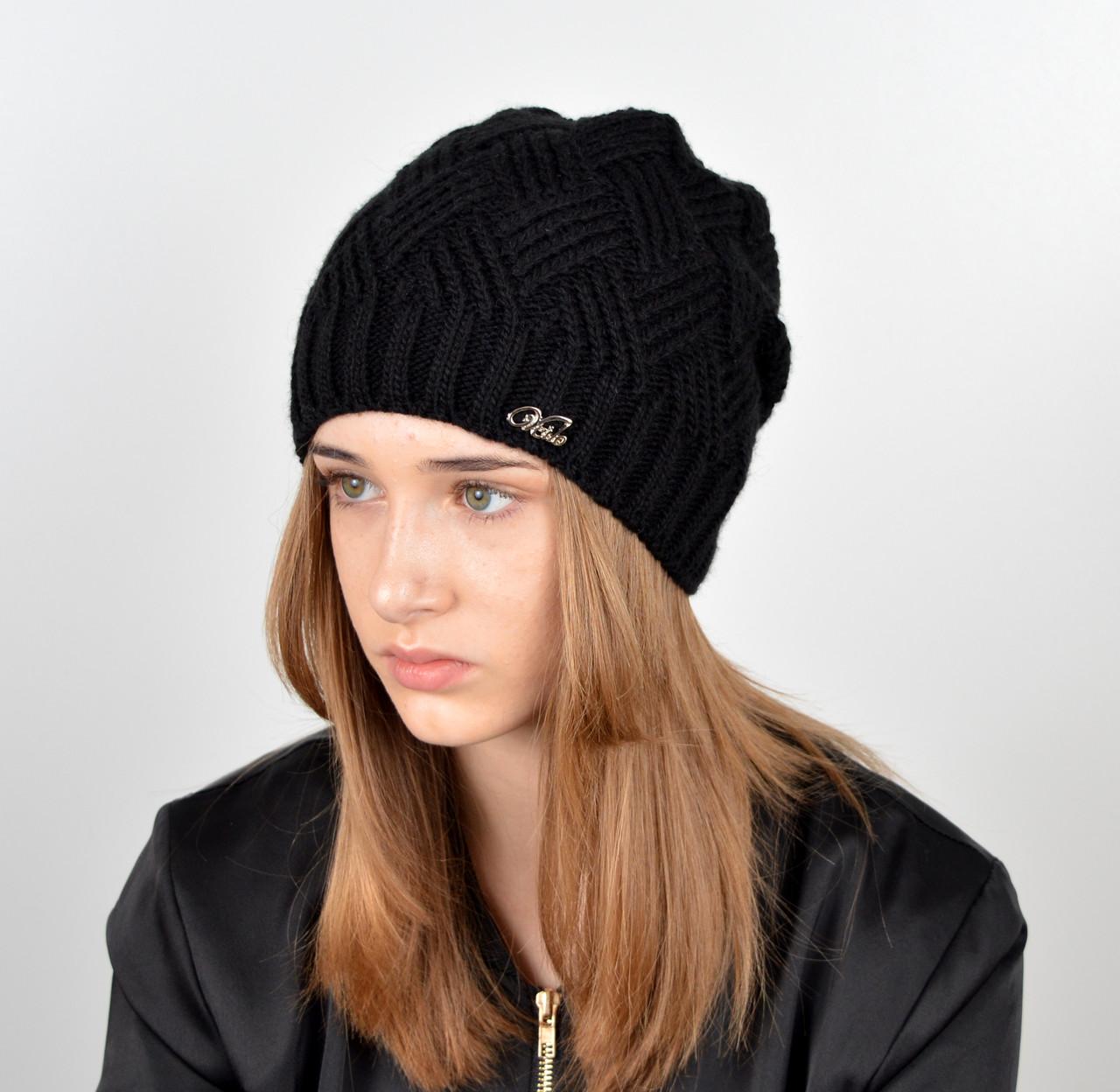Женская шапка veilo на флисе 5522 черный