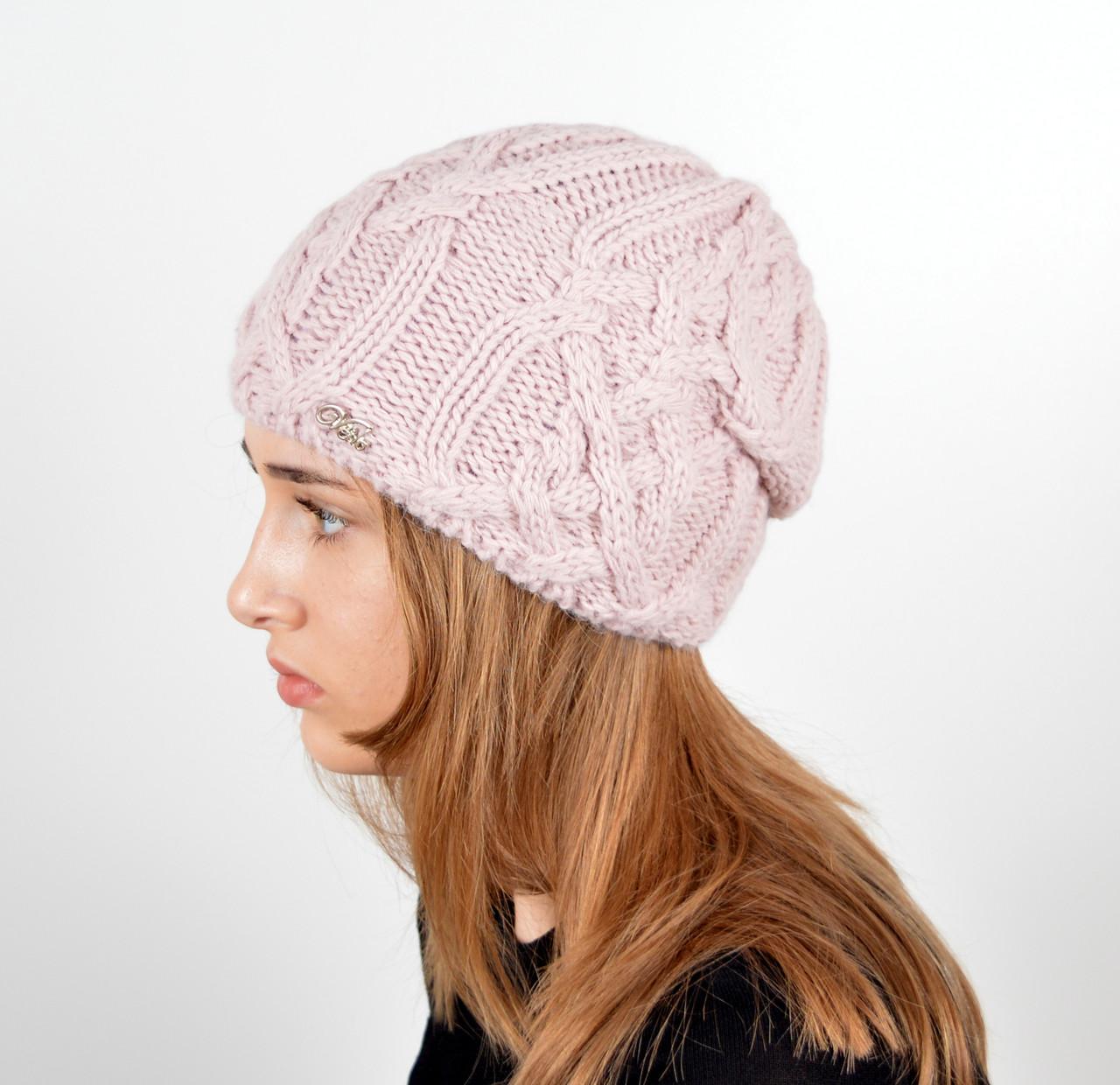 Женская шапка veilo на флисе 3332 пудра