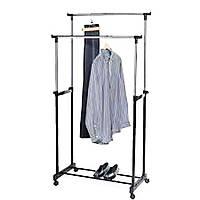 Напольная Вешалка Стойка для Одежды Double Pole Clother Hose Двойная Телескопическая 30 кг, фото 1