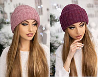 Легкая мохеровая шапка из двойного полотна (разные цвета)