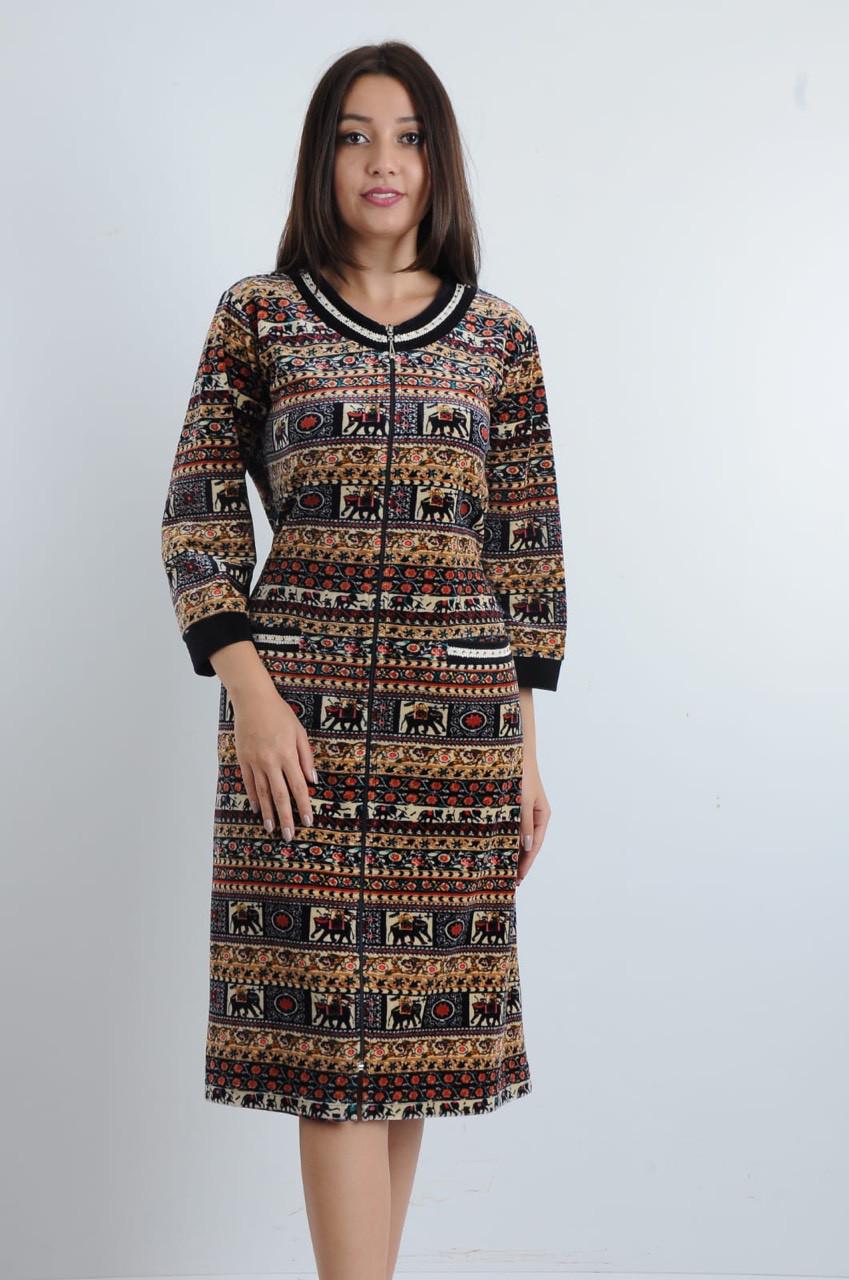 Стильный велюровый халат для женщин