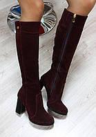 Сапоги  женские на каблуке (зима), материал - натуральная замша + полушерсть (евро), цвет -марсала
