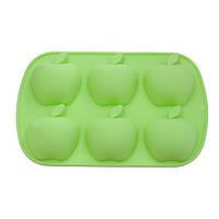 """Форма для выпечки 6 кексов """"Яблоки"""" 26x17,8x3см цвет Зеленый чай (силикон) Fissman (BW-6664.6), фото 1"""