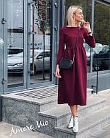 Очаровательное женское платье (креп костюмка, клеш, длина миди, длинные рукава) РАЗНЫЕ ЦВЕТА!, фото 1