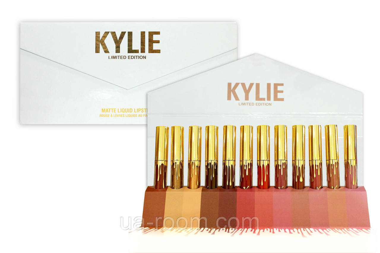 Набор жидких матовых помад (12 шт.) Kylie (белый конверт)