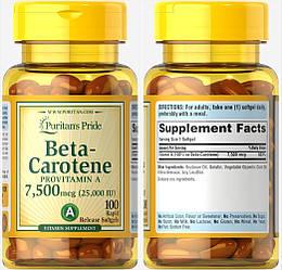 Puritan's Pride, Бета-каротин, Витамин А, 25000 МЕ, 100 капсул