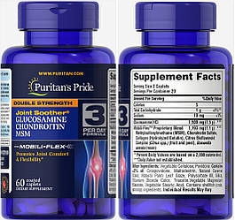 Puritan's Pride, Глюкозамин, Хондроитин и MCM, 60 таблеток (20 дней)