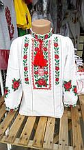 Шикарная вышитая детская блуза на домотканом полотне